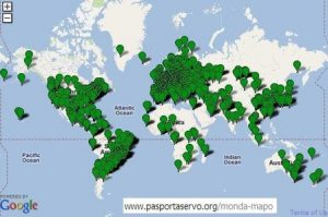 Het wereldwijde reisnetwerk van Esperanto met de naam Pasporta Servo